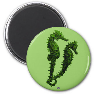 Dance Of The Seahorses (Green) Refrigerator Magnet