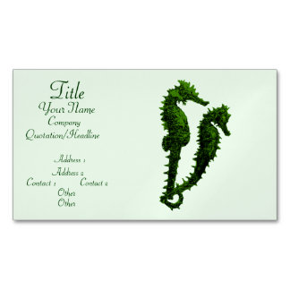 Dance Of The Seahorses (Green) Magnetic Business Cards