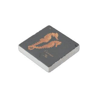 Dance Of The Seahorses (Orange) Stone Magnet