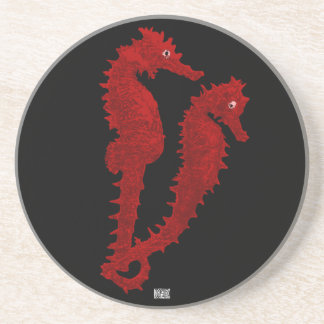 Dance Of The Seahorses (Red) Coaster