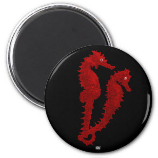 Dance Of The Seahorses (Red) Fridge Magnets