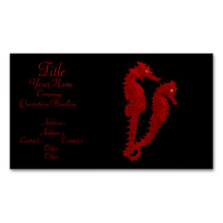 Dance Of The Seahorses (Red) Magnetic Business Cards