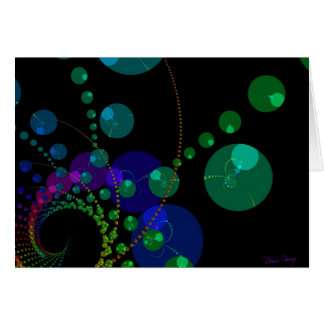 Dance of the Spheres II – Cosmic Violet & Teal Greeting Card