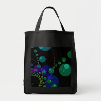 Dance of the Spheres II – Cosmic Violet & Teal Grocery Tote Bag