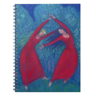 Dance of the witches, pastel painting, fantasy art spiral notebook