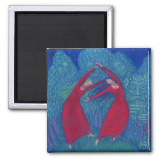 Dance of the witches, pastel painting, fantasy art square magnet