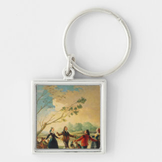 Dance on the Banks of the River Manzanares, 1777 Silver-Colored Square Key Ring