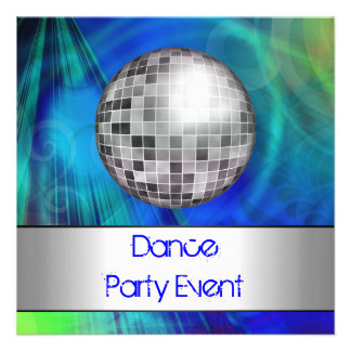 Dance Party Event Blue Green Silver Mirrorball Announcement