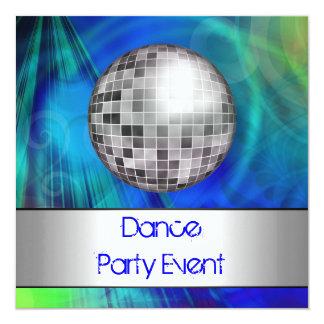 Dance Party Event Blue Green Silver Mirrorball 5.25x5.25 Square Paper Invitation Card
