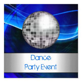 Dance Party Event Blue Silver Mirrorball 5.25x5.25 Square Paper Invitation Card