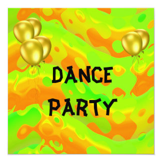Dance Party Event Green Yellow Abstract Balloons 13 Cm X 13 Cm Square Invitation Card