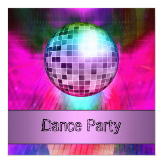 Dance Party Event Pink Purple Abstract Mirrorball 5.25x5.25 Square Paper Invitation Card