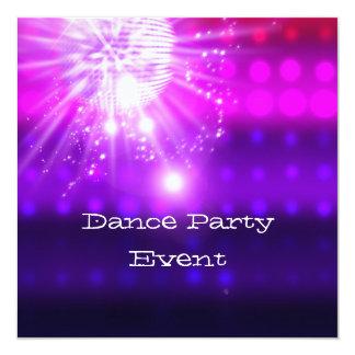 Dance Party Event Pink Purple Silver Mirrorball 5.25x5.25 Square Paper Invitation Card