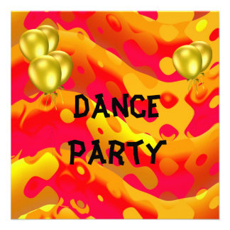 Dance Party Event Yellow Abstract Balloons Invite
