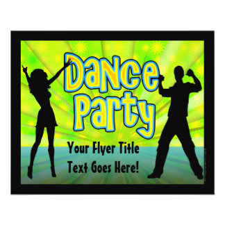Dance Party, Neon Green/Black 11.5 Cm X 14 Cm Flyer