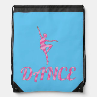 DANCE pink and blue Drawstring Bag