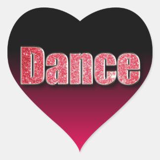 Dance Pink Glitter Heart Sticker