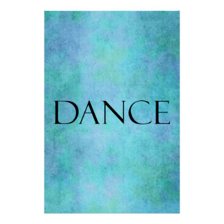 Dance Quote Teal Blue Watercolor Dancing Template Poster