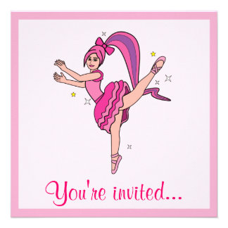 Dance Recital Ballet Ballerina with Bow Personalized Invites
