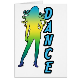 Dance shows one lady with long hair note card