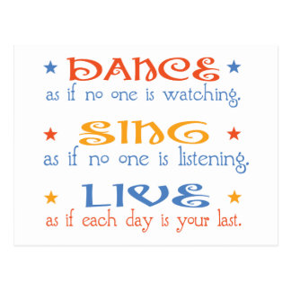 Dance Sing Live Postcard