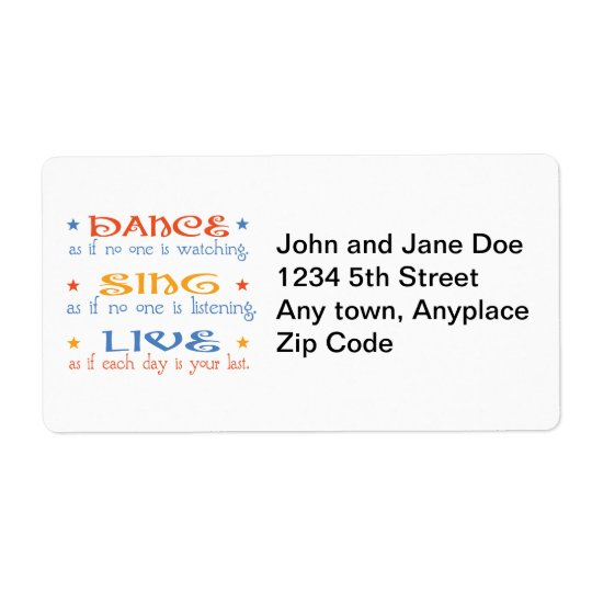 Dance Sing Live Shipping Label