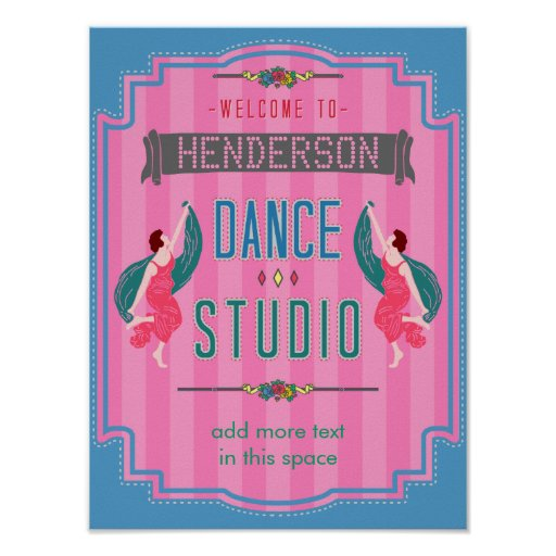 Dance Studio Personalised Name Pink Stripes Retro Poster
