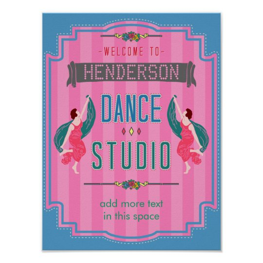 Dance Studio Personalised Name Pink Stripes Retro Poster