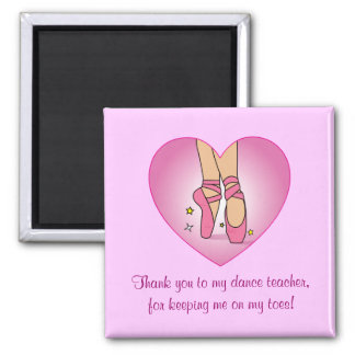 Dance Teacher Thank You: Ballet Shoes Square Magnet