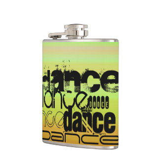 Dance; Vibrant Green, Orange, & Yellow Hip Flask