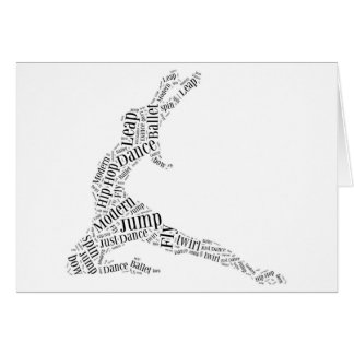 Dance Word Cloud Black & White Card