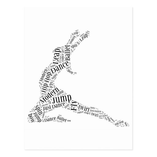 Dance Word Cloud Black & White Postcard