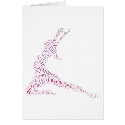 Dance Word Cloud Pink Greeting Cards
