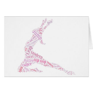 Dance Word Cloud Pink Card