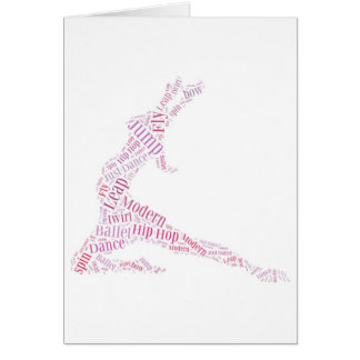 Dance Word Cloud Pink Greeting Card