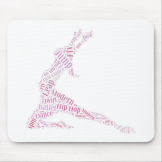 Dance Word Cloud Pink Mouse Pad
