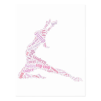 Dance Word Cloud Pink Postcard