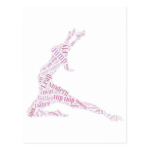 Dance Word Cloud Pink Postcard