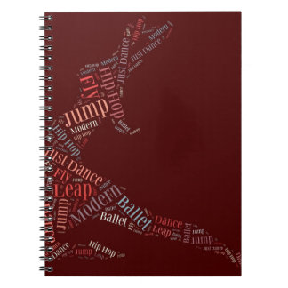 Dance Word Cloud Rose Notebook