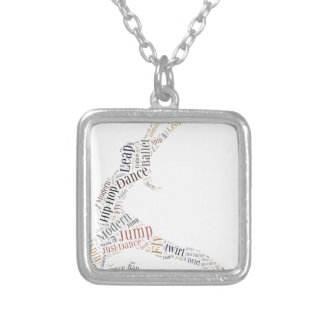 Dance Word Cloud Silver Plated Necklace