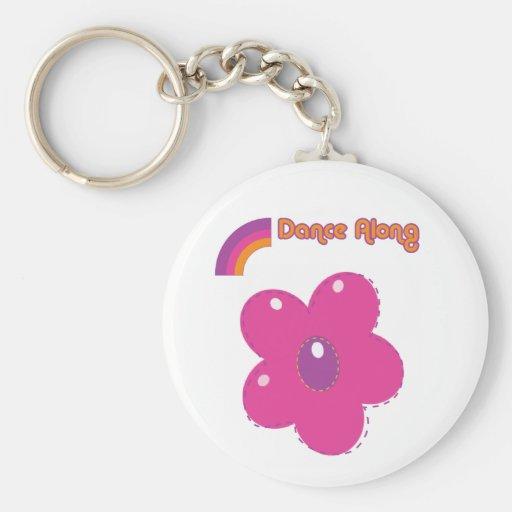 dancealong_key_chain_flower basic round button key ring