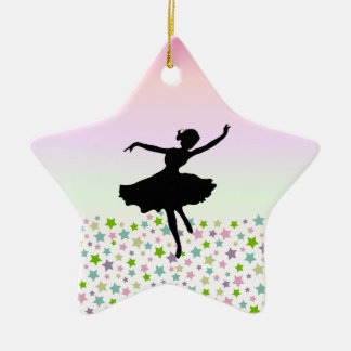 Dancer amongst the stars and pink sky ceramic star decoration