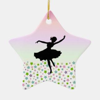 Dancer amongst the stars and pink sky ceramic star decoration