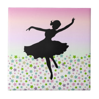 Dancer amongst the stars and pink sky small square tile