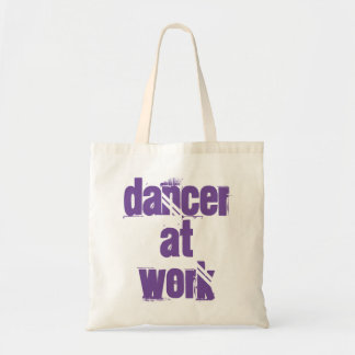 Dancer at Work White/Purple Tote Bag