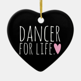 Dancer For Life Black with Heart Double-Sided Heart Ceramic Christmas Ornament