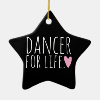 Dancer For Life Black with Heart Double-Sided Star Ceramic Christmas Ornament