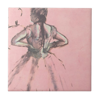 Dancer from the Back by Edgar Degas Vintage Ballet Small Square Tile