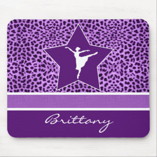 Dancer in Purple Cheetah Print with Monogram Mouse Pad