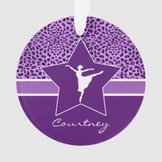 Dancer in Purple Cheetah Print with Monogram Ornament